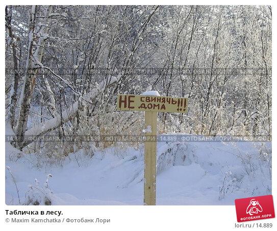 Купить «Табличка в лесу.», фото № 14889, снято 12 декабря 2006 г. (c) Maxim Kamchatka / Фотобанк Лори