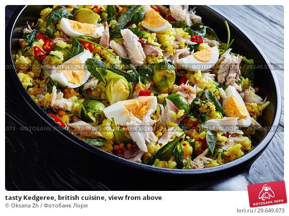 Купить «tasty Kedgeree, british cuisine, view from above», фото № 29649073, снято 25 декабря 2018 г. (c) Oksana Zh / Фотобанк Лори