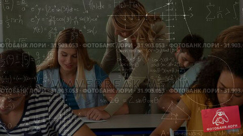 Купить «Teacher interacting with a student in a classroom with calculations », видеоролик № 31903053, снято 22 января 2019 г. (c) Wavebreak Media / Фотобанк Лори