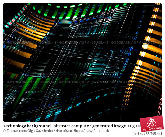 Technology background - abstract computer-generated image. Digital... Стоковое фото, фотограф Zoonar.com/Olga Gavrilenko / easy Fotostock / Фотобанк Лори