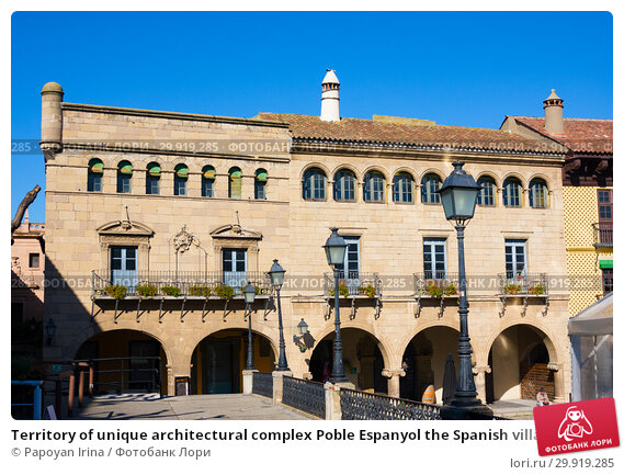 Купить «Territory of unique architectural complex Poble Espanyol the Spanish village, where copies of known and beautiful houses of country houses», фото № 29919285, снято 21 января 2019 г. (c) Papoyan Irina / Фотобанк Лори