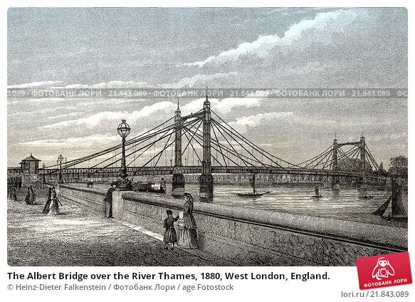 Купить «The Albert Bridge over the River Thames, 1880, West London, England.», фото № 21843089, снято 20 января 2016 г. (c) age Fotostock / Фотобанк Лори