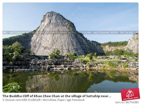 The Buddha Cliff of Khao Chee Chan at the village of Sattahip near... Стоковое фото, фотограф Zoonar.com/URS FLUEELER / age Fotostock / Фотобанк Лори