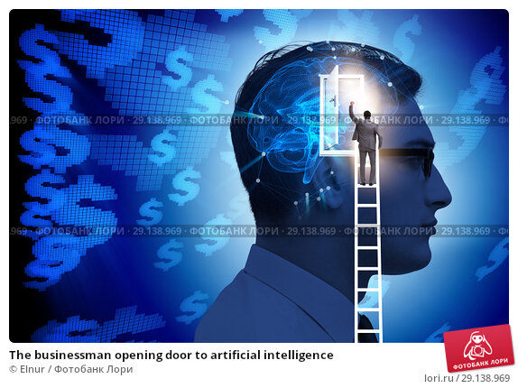 Купить «The businessman opening door to artificial intelligence», фото № 29138969, снято 19 октября 2018 г. (c) Elnur / Фотобанк Лори