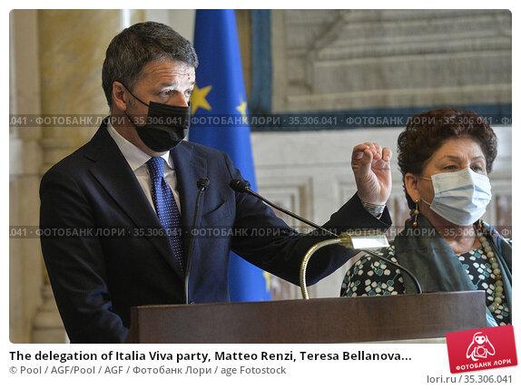 The delegation of Italia Viva party, Matteo Renzi, Teresa Bellanova... Редакционное фото, фотограф Pool / AGF/Pool / AGF / age Fotostock / Фотобанк Лори