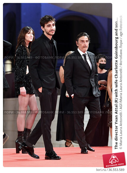 The director Yvan Attal (R) with wife Charlotte Gainsbourg and son... Редакционное фото, фотограф Maria Laura Antonelli / AGF/Maria Laura Antonelli / age Fotostock / Фотобанк Лори