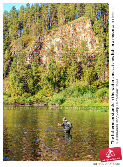 Купить «The fisherman stands in the water and catches fish in a mountain river against the background of a rock covered with forest», фото № 29214581, снято 8 сентября 2017 г. (c) Акиньшин Владимир / Фотобанк Лори