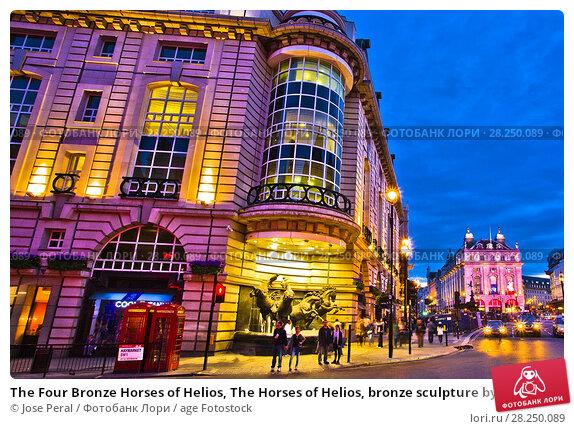 Купить «The Four Bronze Horses of Helios, The Horses of Helios, bronze sculpture by Rudy Weller, Aethon, Eos, Phlegon, and Pyrois, Greek mythology, Haymarket street...», фото № 28250089, снято 8 мая 2011 г. (c) age Fotostock / Фотобанк Лори