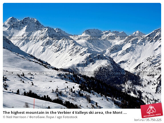 The highest mountain in the Verbier 4 Valleys ski area, the Mont ... Стоковое фото, фотограф Neil Harrison / age Fotostock / Фотобанк Лори