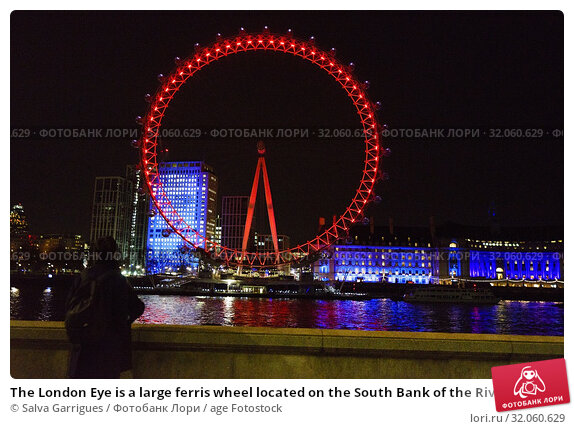 The London Eye is a large ferris wheel located on the South Bank of the River Thames in London, United Kingdom. Стоковое фото, фотограф Salva Garrigues / age Fotostock / Фотобанк Лори