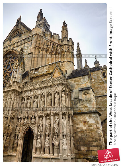 Купить «The part of the West facade of Exeter Cathedral with Front Image Screen. Exeter. Devon. England», фото № 29712497, снято 12 мая 2009 г. (c) Serg Zastavkin / Фотобанк Лори