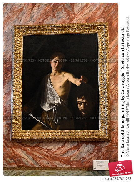 The Sala del Sileno painting by Caravaggio ' David con la testa di... Редакционное фото, фотограф Maria Laura Antonelli / AGF/Maria Laura Antonelli / age Fotostock / Фотобанк Лори