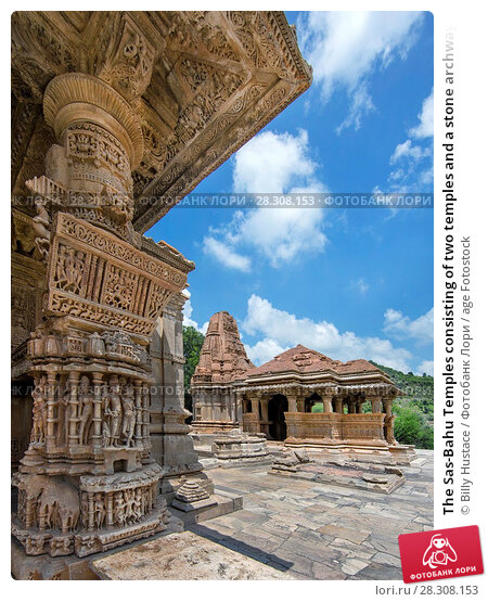 Купить «The Sas-Bahu Temples consisting of two temples and a stone archway with exquisite carvings depicting Hindu deities, near Udaipur, Rajasthan, India, Asia», фото № 28308153, снято 21 августа 2017 г. (c) age Fotostock / Фотобанк Лори