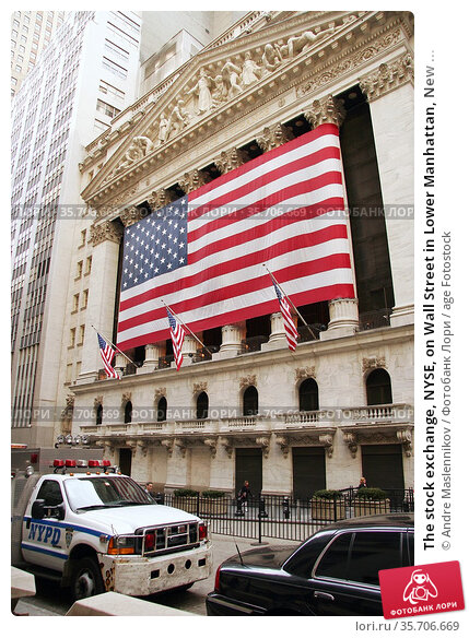 The stock exchange, NYSE, on Wall Street in Lower Manhattan, New ... Стоковое фото, фотограф Andre Maslennikov / age Fotostock / Фотобанк Лори