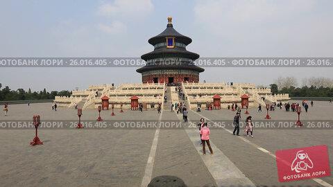 Купить «The Temple of Heaven in Beijing», видеоролик № 26016405, снято 4 апреля 2017 г. (c) Яна Королёва / Фотобанк Лори