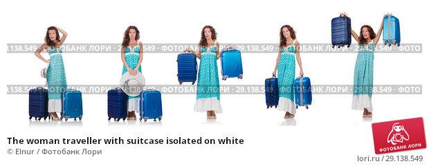 Купить «The woman traveller with suitcase isolated on white», фото № 29138549, снято 29 августа 2013 г. (c) Elnur / Фотобанк Лори
