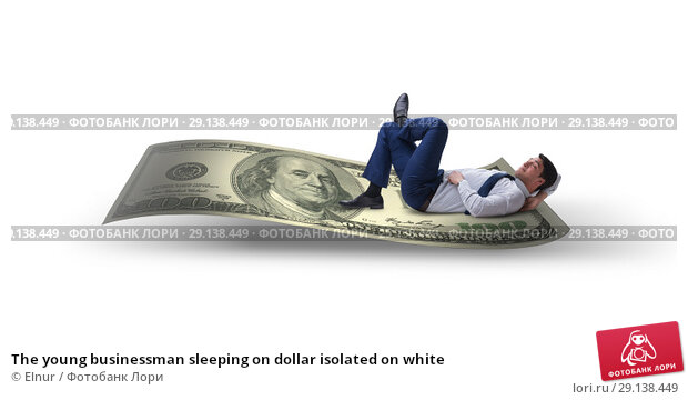 Купить «The young businessman sleeping on dollar isolated on white», фото № 29138449, снято 21 октября 2018 г. (c) Elnur / Фотобанк Лори