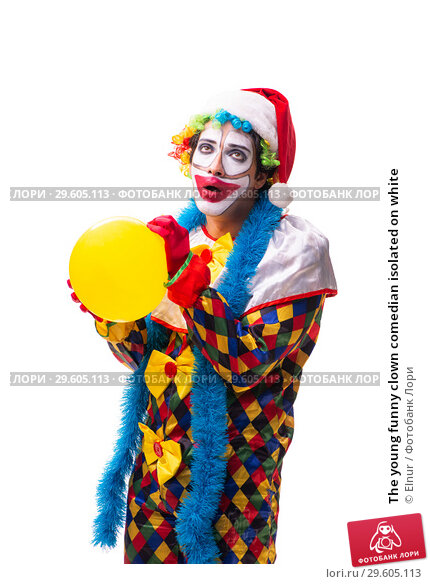 Купить «The young funny clown comedian isolated on white», фото № 29605113, снято 20 июля 2018 г. (c) Elnur / Фотобанк Лори