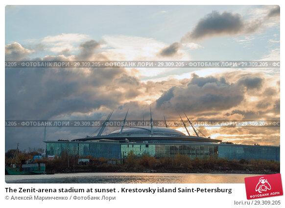 Купить «The Zenit-arena stadium at sunset . Krestovsky island Saint-Petersburg», фото № 29309205, снято 24 октября 2018 г. (c) Алексей Маринченко / Фотобанк Лори