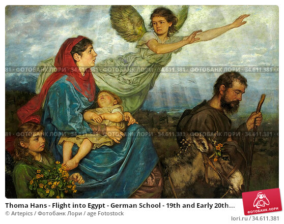 Thoma Hans - Flight into Egypt - German School - 19th and Early 20th... Редакционное фото, фотограф Artepics / age Fotostock / Фотобанк Лори