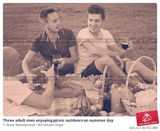 Three adult men enjoying picnic outdoors on summer day, фото № 26972389, снято 23 августа 2017 г. (c) Яков Филимонов / Фотобанк Лори