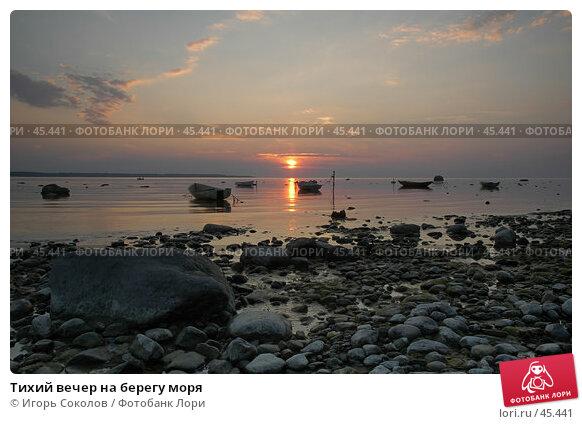 Тихий вечер на берегу моря, фото № 45441, снято 17 января 2017 г. (c) Игорь Соколов / Фотобанк Лори