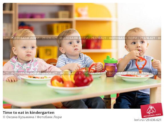 Купить «Time to eat in kindergarten», фото № 29636621, снято 5 июля 2020 г. (c) Оксана Кузьмина / Фотобанк Лори