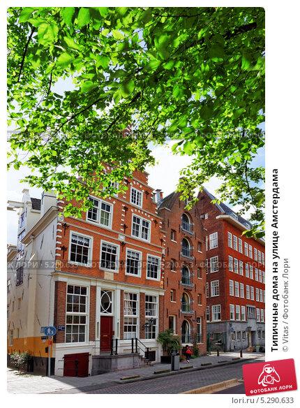 Типичные дома на улице Амстердама (2013 год). Стоковое фото, фотограф Vitas / Фотобанк Лори