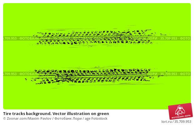 Tire tracks background. Vector illustration on green. Стоковое фото, фотограф Zoonar.com/Maxim Pavlov / age Fotostock / Фотобанк Лори