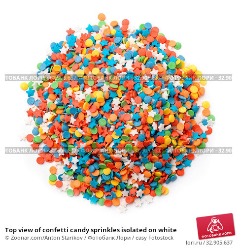 Top view of confetti candy sprinkles isolated on white. Стоковое фото, фотограф Zoonar.com/Anton Starikov / easy Fotostock / Фотобанк Лори