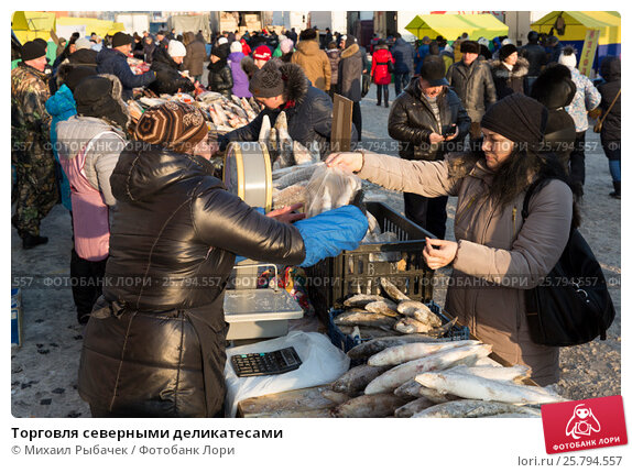 Купить «Торговля северными деликатесами», фото № 25794557, снято 18 марта 2017 г. (c) Михаил Рыбачек / Фотобанк Лори