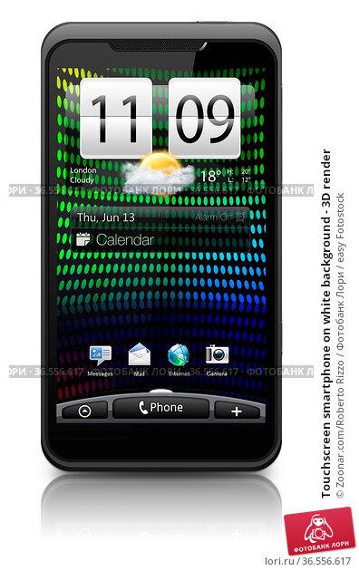 Touchscreen smartphone on white background - 3D render. Стоковое фото, фотограф Zoonar.com/Roberto Rizzo / easy Fotostock / Фотобанк Лори