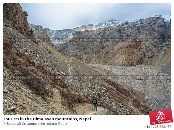 Купить «Tourists in the Himalayan mountains, Nepal», фото № 28728157, снято 6 апреля 2018 г. (c) Валерий Смирнов / Фотобанк Лори