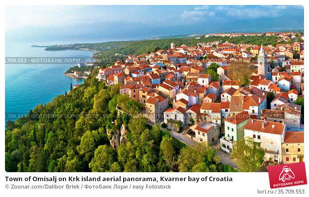 Town of Omisalj on Krk island aerial panorama, Kvarner bay of Croatia. Стоковое фото, фотограф Zoonar.com/Dalibor Brlek / easy Fotostock / Фотобанк Лори