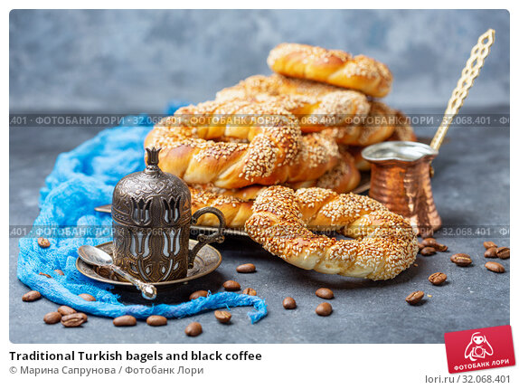 Traditional Turkish bagels and black coffee. Стоковое фото, фотограф Марина Сапрунова / Фотобанк Лори