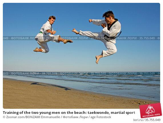 Training of the two young men on the beach: taekwondo, martial sport. Стоковое фото, фотограф Zoonar.com/BONZAMI Emmanuelle / age Fotostock / Фотобанк Лори