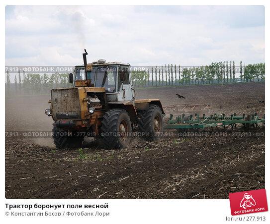 Трактор боронует поле весной, фото № 277913, снято 26 октября 2016 г. (c) Константин Босов / Фотобанк Лори