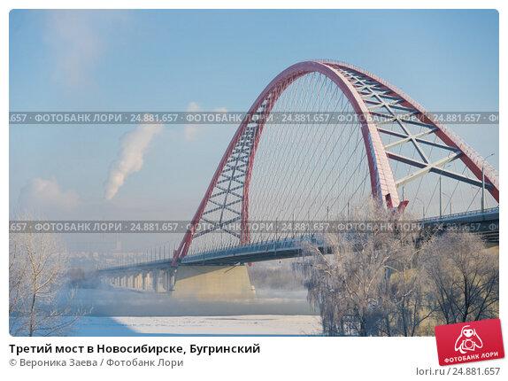 Купить «Третий мост в Новосибирске, Бугринский», фото № 24881657, снято 15 января 2017 г. (c) Вероника Заева / Фотобанк Лори