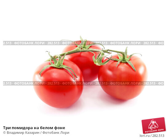 Три помидора на белом фоне, фото № 282513, снято 11 мая 2008 г. (c) Владимир Казарин / Фотобанк Лори