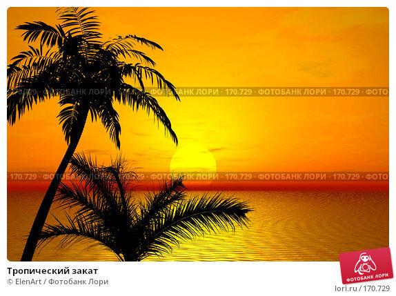 Тропический закат, иллюстрация № 170729 (c) ElenArt / Фотобанк Лори