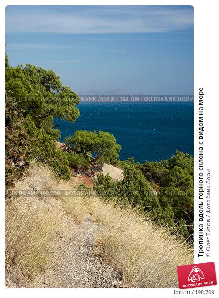 Тропинка вдоль горного склона с видом на море, фото № 198709, снято 4 сентября 2006 г. (c) Олег Титов / Фотобанк Лори