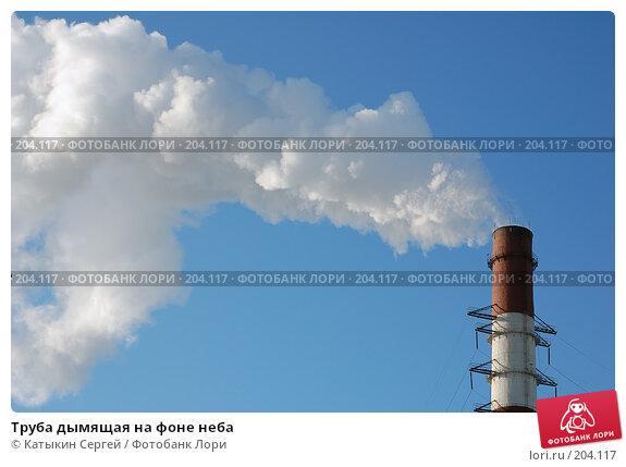 Труба дымящая на фоне неба, фото № 204117, снято 16 февраля 2008 г. (c) Катыкин Сергей / Фотобанк Лори