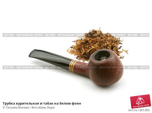 Купить «Трубка курительная и табак на белом фоне», фото № 267853, снято 5 февраля 2008 г. (c) Татьяна Белова / Фотобанк Лори