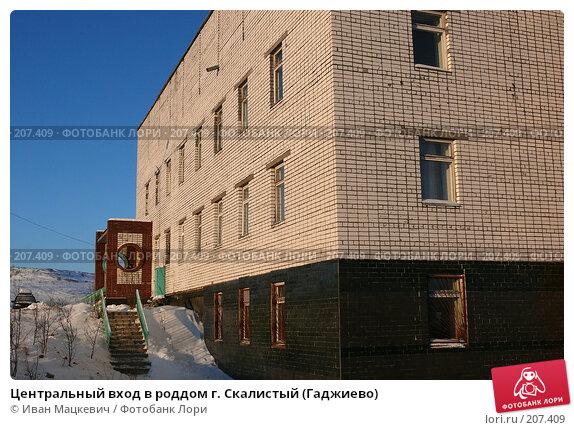 Купить «Центральный вход в роддом г. Скалистый (Гаджиево)», фото № 207409, снято 6 февраля 2008 г. (c) Иван Мацкевич / Фотобанк Лори