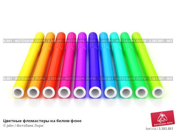 Цветные фломастеры на белом фоне. Стоковая иллюстрация, иллюстратор Jalin / Фотобанк Лори