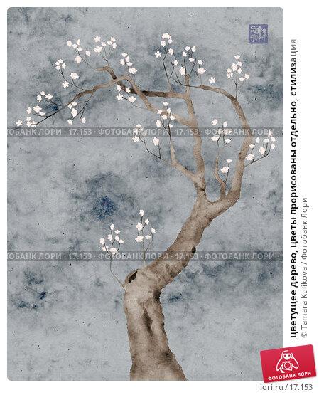 цветущее дерево, цветы прорисованы отдельно, стилизация, иллюстрация № 17153 (c) Tamara Kulikova / Фотобанк Лори