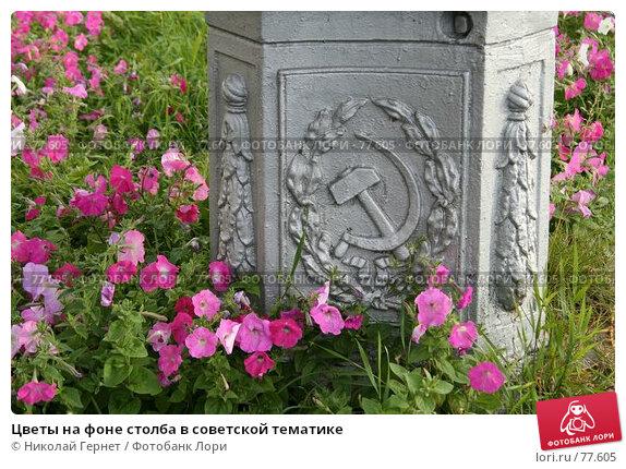 Цветы на фоне столба в советской тематике, фото № 77605, снято 26 августа 2007 г. (c) Николай Гернет / Фотобанк Лори