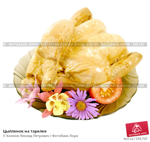 Цыпленок на тарелке, фото № 319737, снято 11 июня 2008 г. (c) Коннов Леонид Петрович / Фотобанк Лори