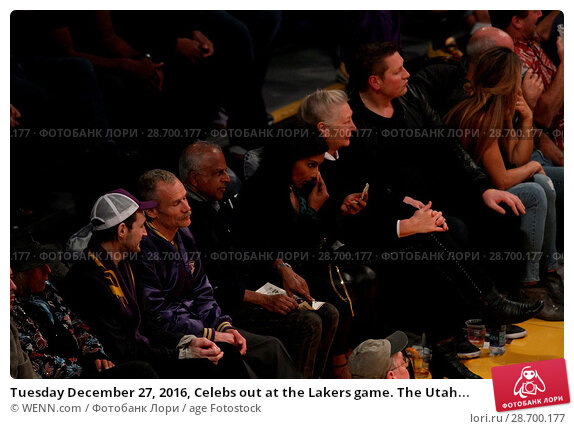 Купить «Tuesday December 27, 2016, Celebs out at the Lakers game. The Utah Jazz defeated the Los Angeles Lakers by the final score of 102-100 at Staples Center...», фото № 28700177, снято 27 декабря 2016 г. (c) age Fotostock / Фотобанк Лори