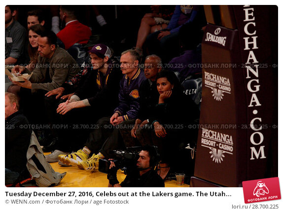 Купить «Tuesday December 27, 2016, Celebs out at the Lakers game. The Utah Jazz defeated the Los Angeles Lakers by the final score of 102-100 at Staples Center...», фото № 28700225, снято 27 декабря 2016 г. (c) age Fotostock / Фотобанк Лори